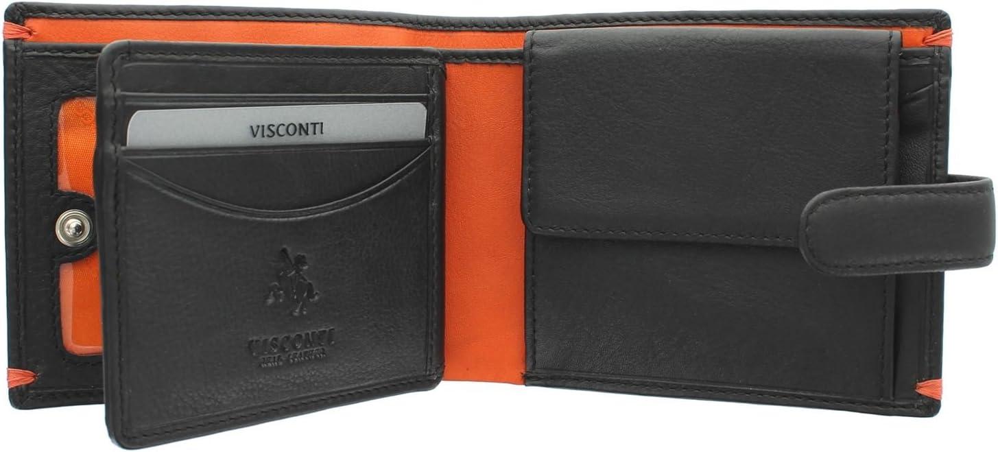 Visconti Colección Alpine Lucerne Cartera de Cuero con Cierre de Lengüeta AP63 Bloqueo RFID Negro/Naranja