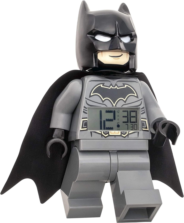 Clictime Réveil Lumineux en Forme de Figurine Batman avec Sons Lego 7001064, Noir, 9 Pouces