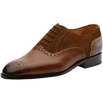 Amazon.com | 3DM Lifestyle Genuine Leather Handcrafted Men's Suede Combination Oxford | Oxfords