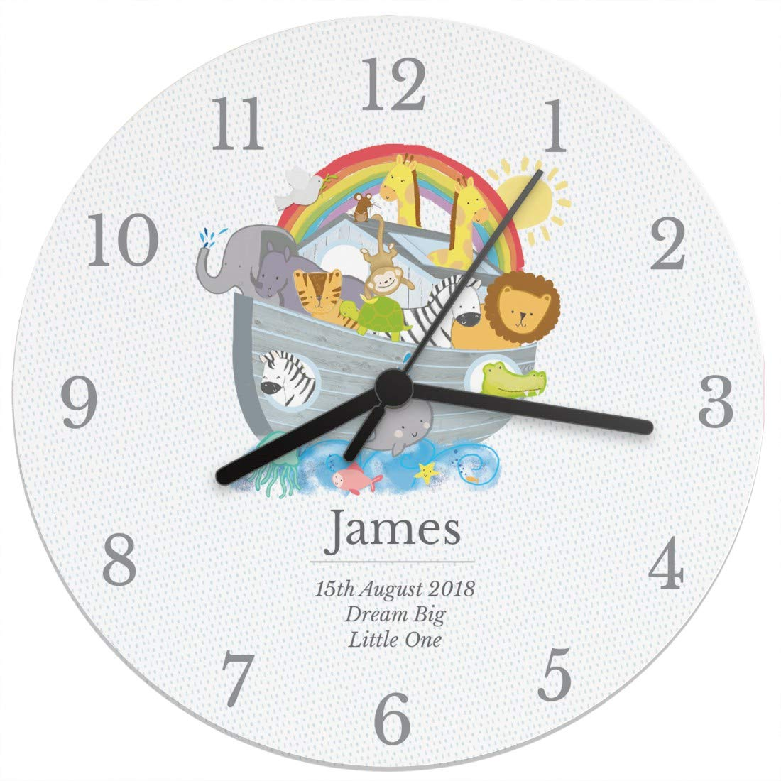 Personalised Noah's Ark Clock, Unique Gift For a Christening or Birthday PMC