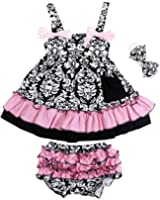Jubileens 2 PCS Baby Toddlers Infant Girls Cotton Cute Dress+ Underpants Outfit Sets