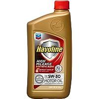 HAVOLINE Chevron, 224111482 Aceite para Motor de Auto, Mezcla Sintética, Alto Kilometraje, 5W30, Color Dorado, 0.946 l (1 QT), 1 Pieza/1 Piece