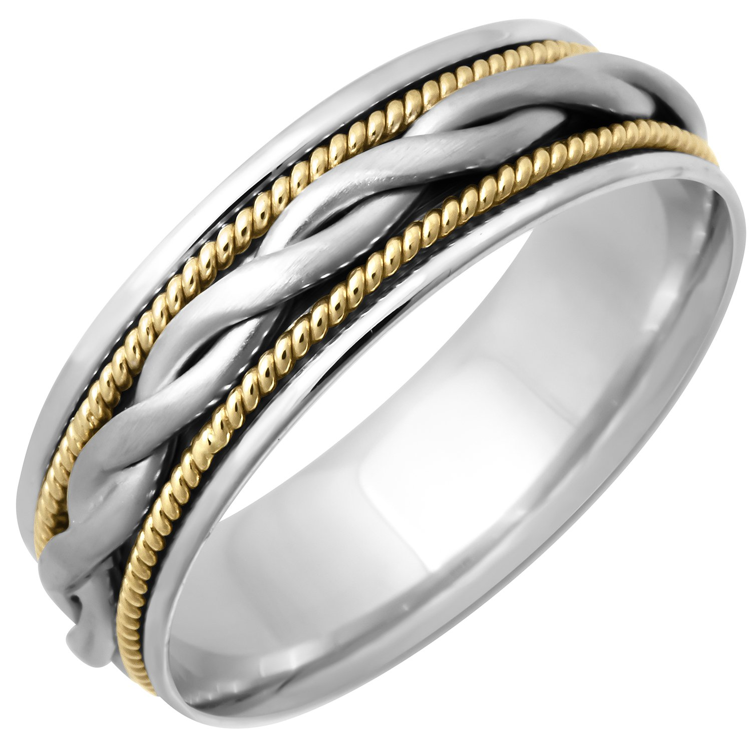 14K Two Tone (White and Yellow) Gold Braided Coil Twist Men's Wedding Band (7mm) Size-10.5c1