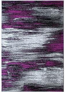 Perfect Masada Rugs, Modern Contemporary Area Rug, Purple Grey Black (8 Feet X 10