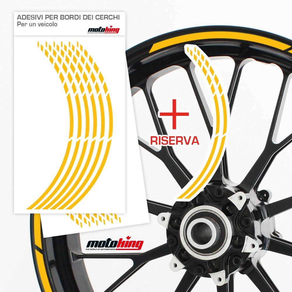 Progettazione Grafica Kit Completo per Cerchioni da 15 a 19 Motoking Adesivi per Il Bordo del cerchione GP Colore a Scelta