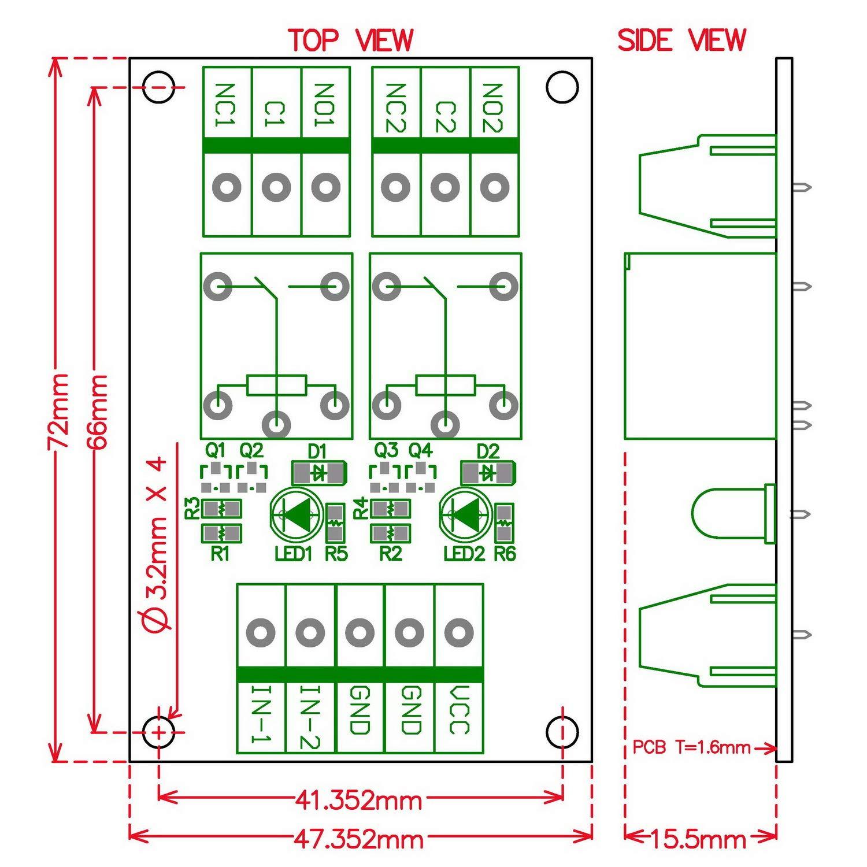 Electronics-Salon 2 SPDT 10Amp Power Relay Module DC 12V Version.