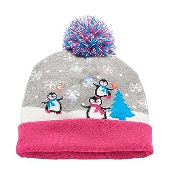 660e0d2a353 Amazon.com  Kohl s Christmas Holiday Pom Beanie LED Light Up Hat Junior  Unisex Penguins M L 7-14  Clothing