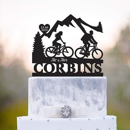 Decoración para tartas de pareja de bicicleta, decoración para tartas de boda, montaña, para tartas de boda, amantes de las bicicletas, decoración para tartas al aire libre: Amazon.es: Hogar