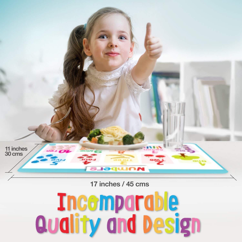 merka Educational Kids Placemats - Set of 4: Alphabet, Numbers, Shapes, Colors - Bundle - Non Slip & Washable by merka (Image #4)