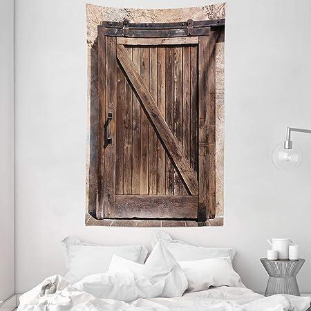 ABAKUHAUS Rústico Tapiz de Pared y Cubrecama Suave, Puerta Corredera De La Vendimia, Lavable Colores No Destiñen, 140 x 230 cm, Marrón Beige: Amazon.es: Hogar