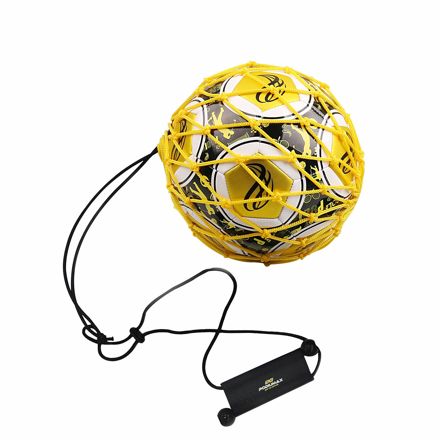 PodiuMax Handle Solo Soccer Kick Trainer with New Ball Locked Net Design, Soccer Ball Bungee Elastic Training Juggling Net (Fits Ball Size 3, 4, 5) PDMS2016040