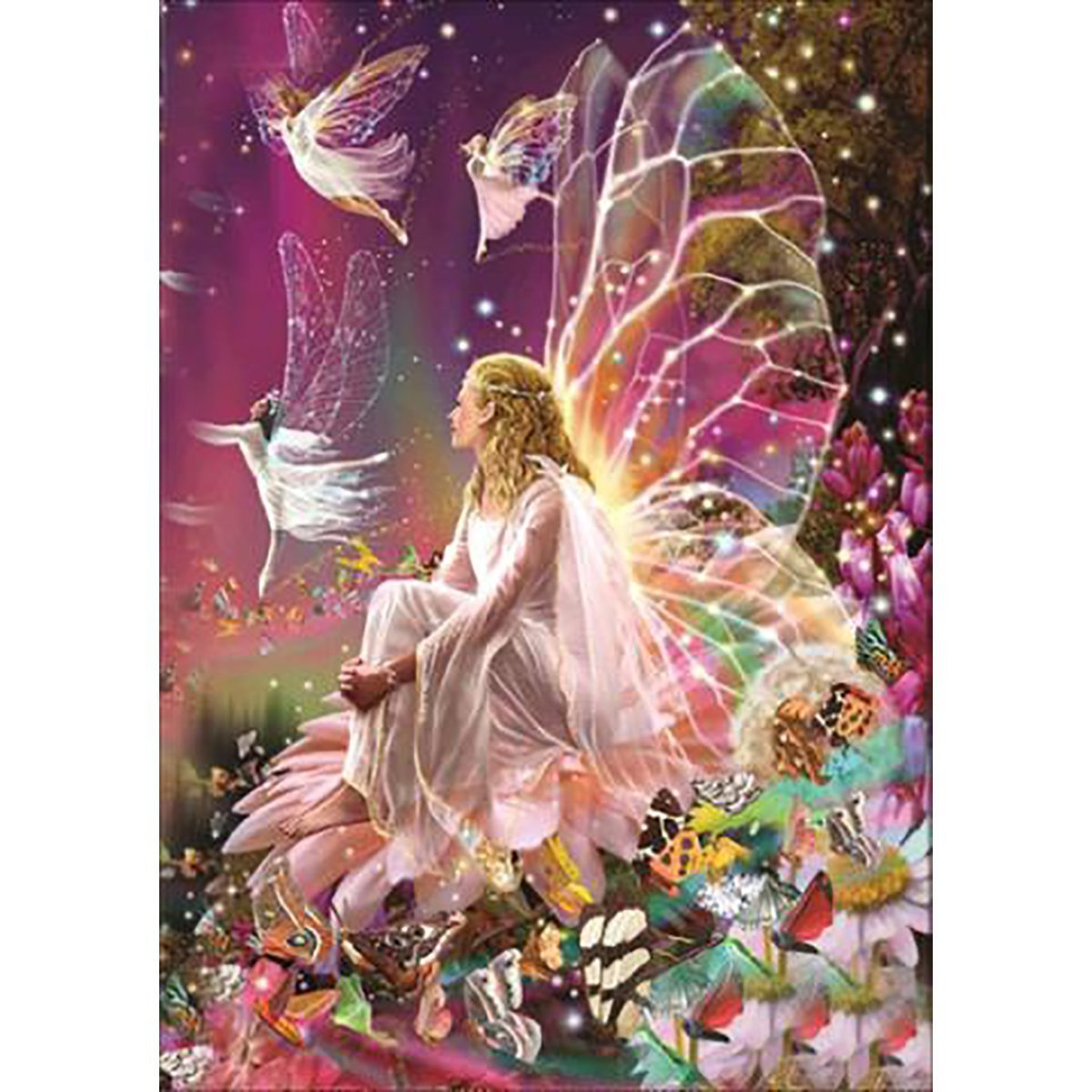 JCBABA DIY 5D Diamond Painting, Crystal Rhinestone Full Diamond Embroidery Pictures Arts Craft for Home Wall Decor Fairy Queen on The Flower 11.8 x 15.7 (Pattern -A) ADSDJ001