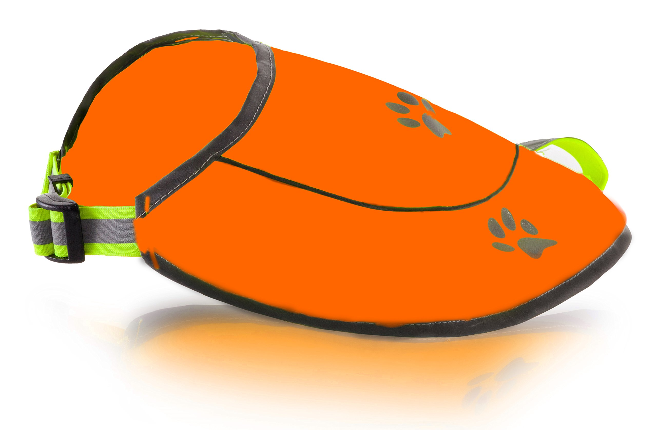 Dog Safety Reflective Vest, Hunting Waterproof Orange Vest for Best Visibility at Day and Night with Claps, Connectors Comfortable Adjustable Size, XS S M L XL XXL Orange Color (L, Orange)