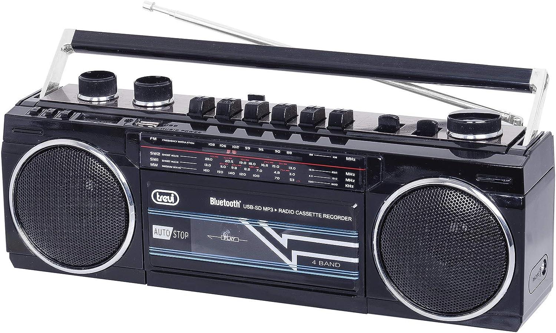 Trevi RR 501BT estéreo Boombox Altavoz portátil Bluetooth, USB, SD, MP3, Negro