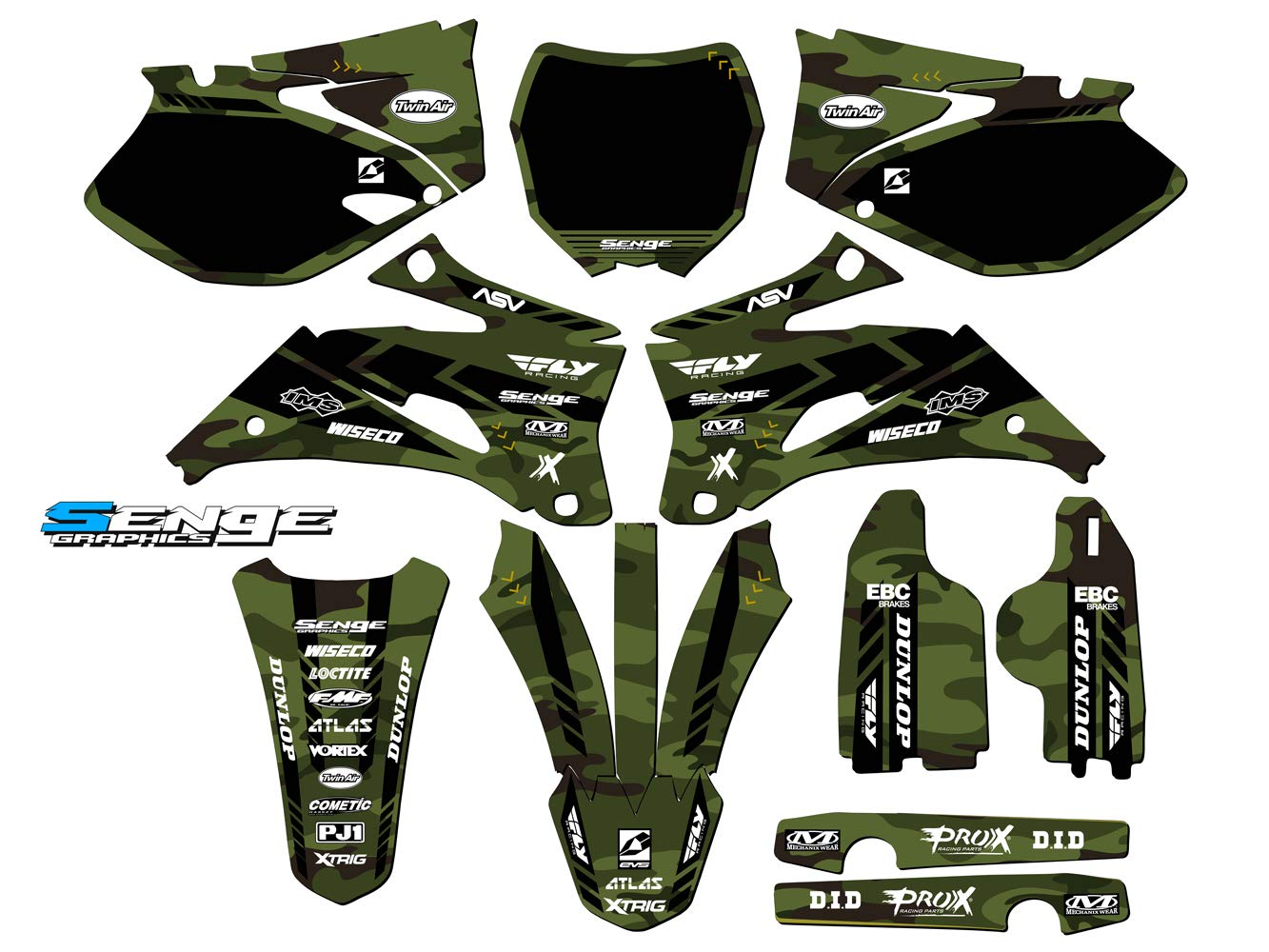 Senge Graphics kit compatible with Yamaha 2006-2007 YZ 450F/250F (4-Stroke), Apache Matte Green (MATTE FINISH) Complete Graphics Kit