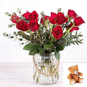 Flores Frescas Florachic - 12 Rosas Rojas sin jarrón con osito de peluche - flores enviadas