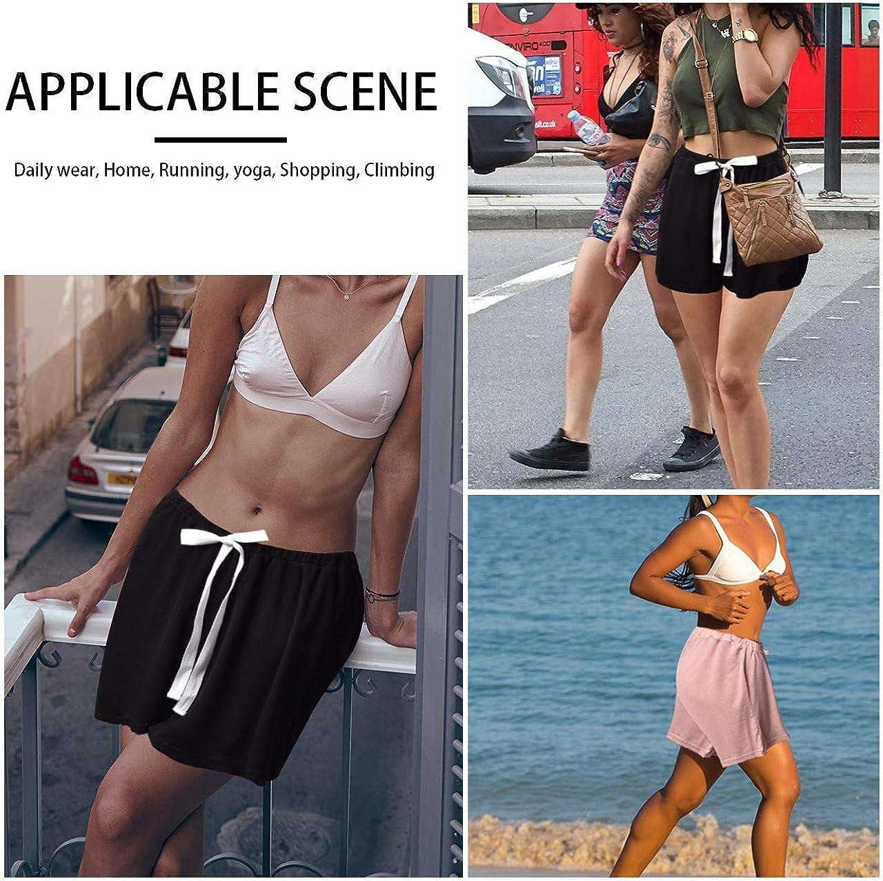 INSOUR Pigiama Donna Pantaloncini Pantaloni Nightwear Loungewear con Elastico in Vita Confezione da 2