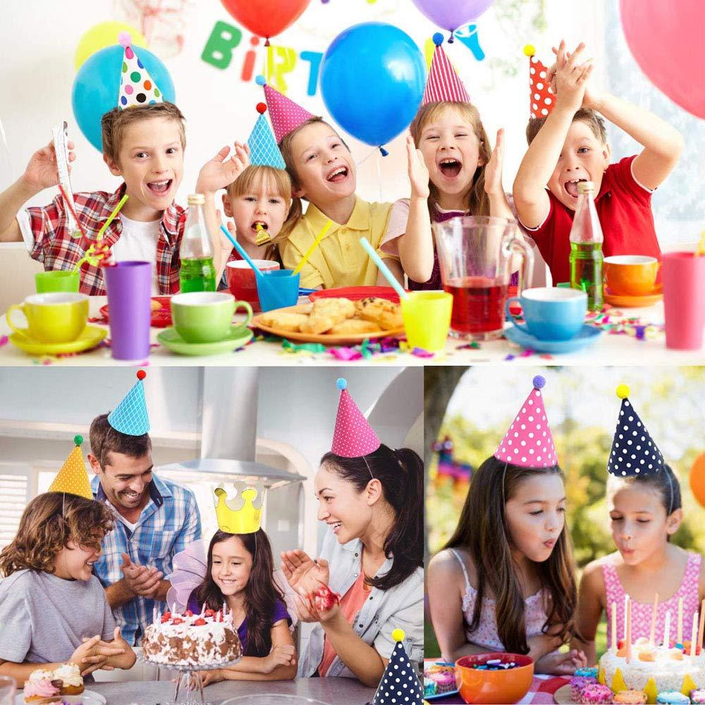ysister 11 St/ück Partyh/üte Party Kegel H/üte Geburtstag Dekoration Set Kinder Geburtstag Hut aus Bunt Papier f/ür Kinder Geburtstags-Party gl/änzend Kost/ümzubeh/ör bunt 9 H/üte und 2 Kronen