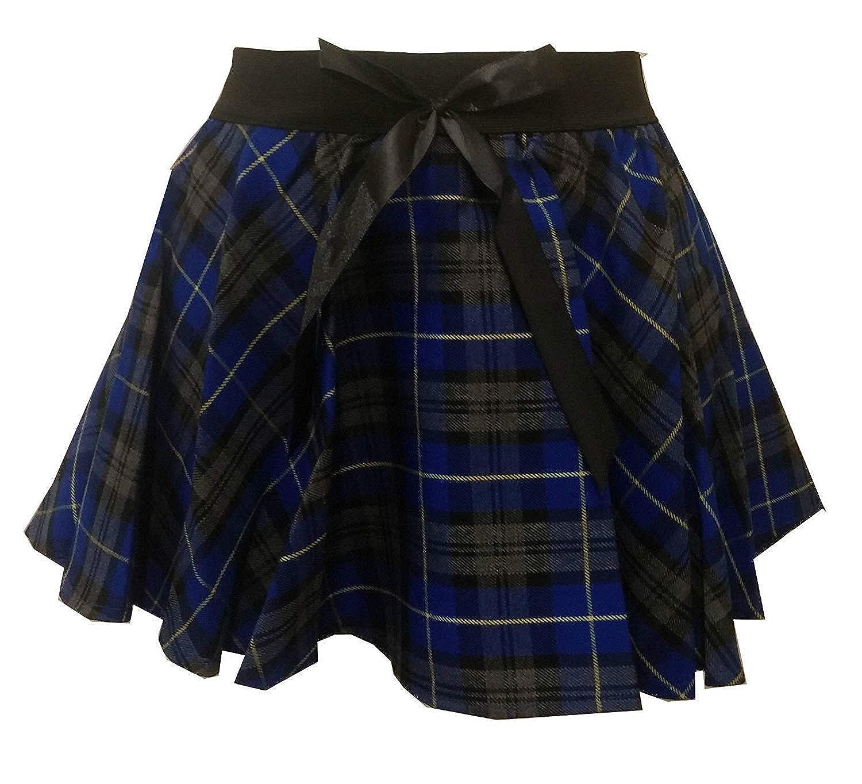 Momo/&Ayat Fashions Girls Children Tartan Check Mock Bow Circular Skater Skirt Age 5-10 Years