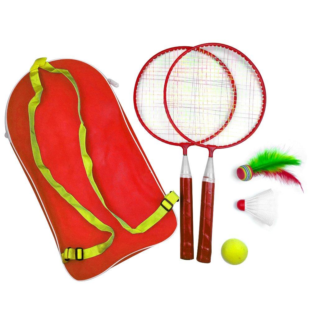 Hinmay 1Lot de Jouets Raquette de Badminton Sports de Plein air Kid Bébé avec Sac à Dos Jeu de Plein air, Bleu, Taille Unique