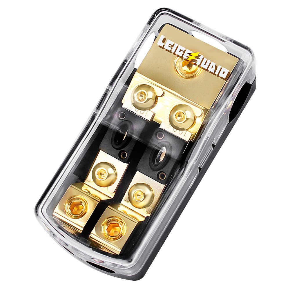 LEIGESAUDIO Copper 0/2/4 Gauge In To 4/8/10 Gauge Out 2 Way Mini ANL Fuse Holder Distribution Block With 100Amp fuses