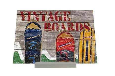 Soporte Fotografias Nostálgico Snowboards montañas Vintage Letrero Retro
