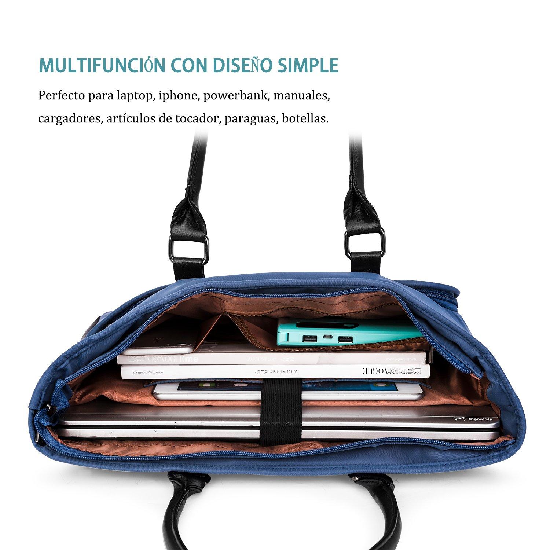LOKASS bolsa portátil de asas del bolso de hombro clásico del bolso casual de oficina Ligera Nylon 15,6 pulgadas portátil bolsa de mujer, informática, ...