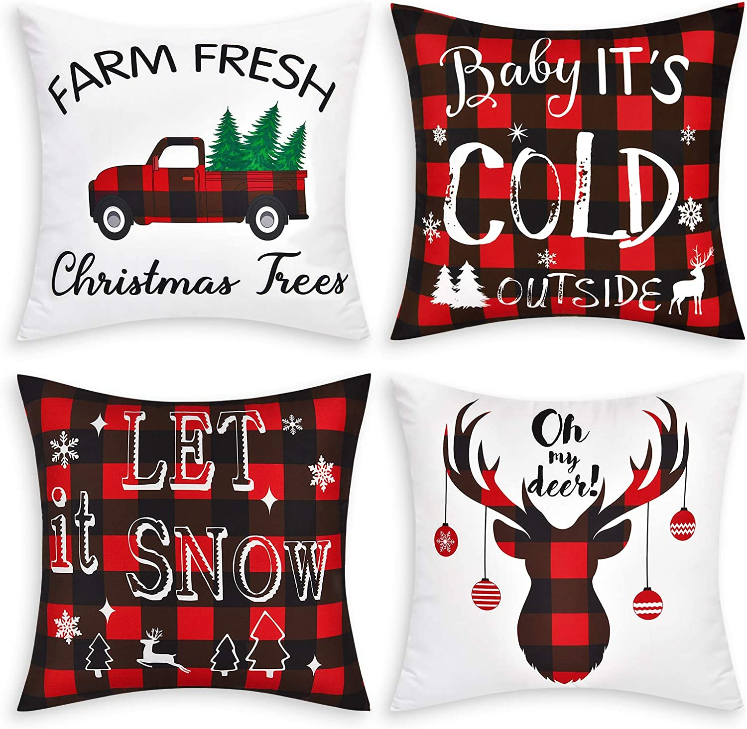 Set of 4 Christmas Red Grid Pillow Covers, Baby Its Cold Outside Pillow Covers, Farm Fresh Truck Deer Pillowcase Covers Cushion for Room, Chair, Car, 18 x 18 Inch