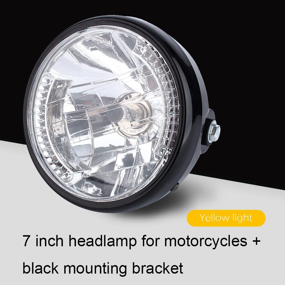 Qiilu QL21500 7 Phare de moto /à DEL jaune pour moto ronde universelle 12V H4 35W avec support noir