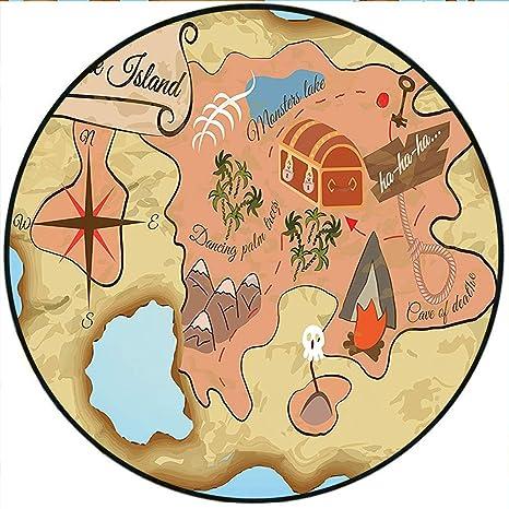 Amazon.com: Short Plush Round Carpet Cartoon Treasure Map of ... on