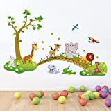 PPD Jungle Animals Wall Stickers for Kids (Finished Size on Wall - 120(w) x 90(h) cm) by Paper Plane Design