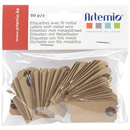 Artemio 11060196 Kraft Tags With Wire 0.75 x 1.5 in. Brown