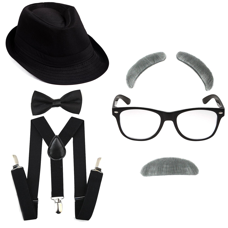 1920's Boys Gangster Costume Set - Short Brim Fedora Hat,Adjustable Suspenders with Pre-Tied Bow Tie, Old Man Eyebrows & Moustache,Nerd Fake Glasses for Kids & Child(Black Hat & Black Suspenders)