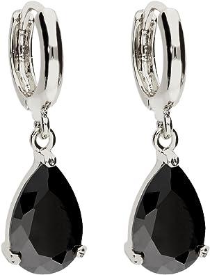MYA art Damen Creolen Ohrringe Hängend Ohrhänger mit Zirkonia Stein Tropfen Oval Anhänger Silber Onyx Schwarz Vergoldet MYAWGOHR 70