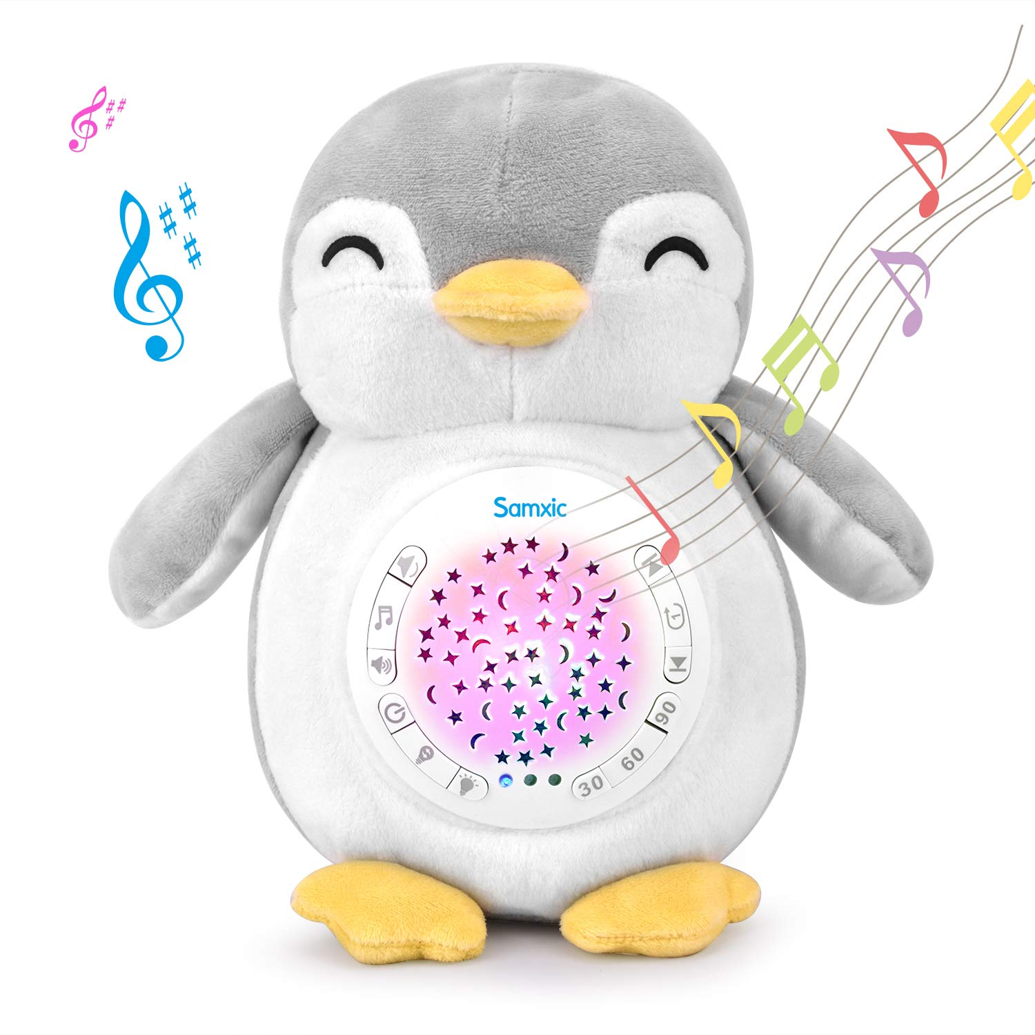 Samxic Baby Shower Gift - White Noise Sound Machine, Sleep Soother, Baby Sound Machine with Sleep Aid Night Light, Lullabies & Timer Setting (Penguin) by Samxic