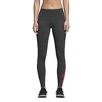 82ae5ccbb09 adidas Women's Essentials Linear Tights, Dark Grey Heather/Real Coral, ...