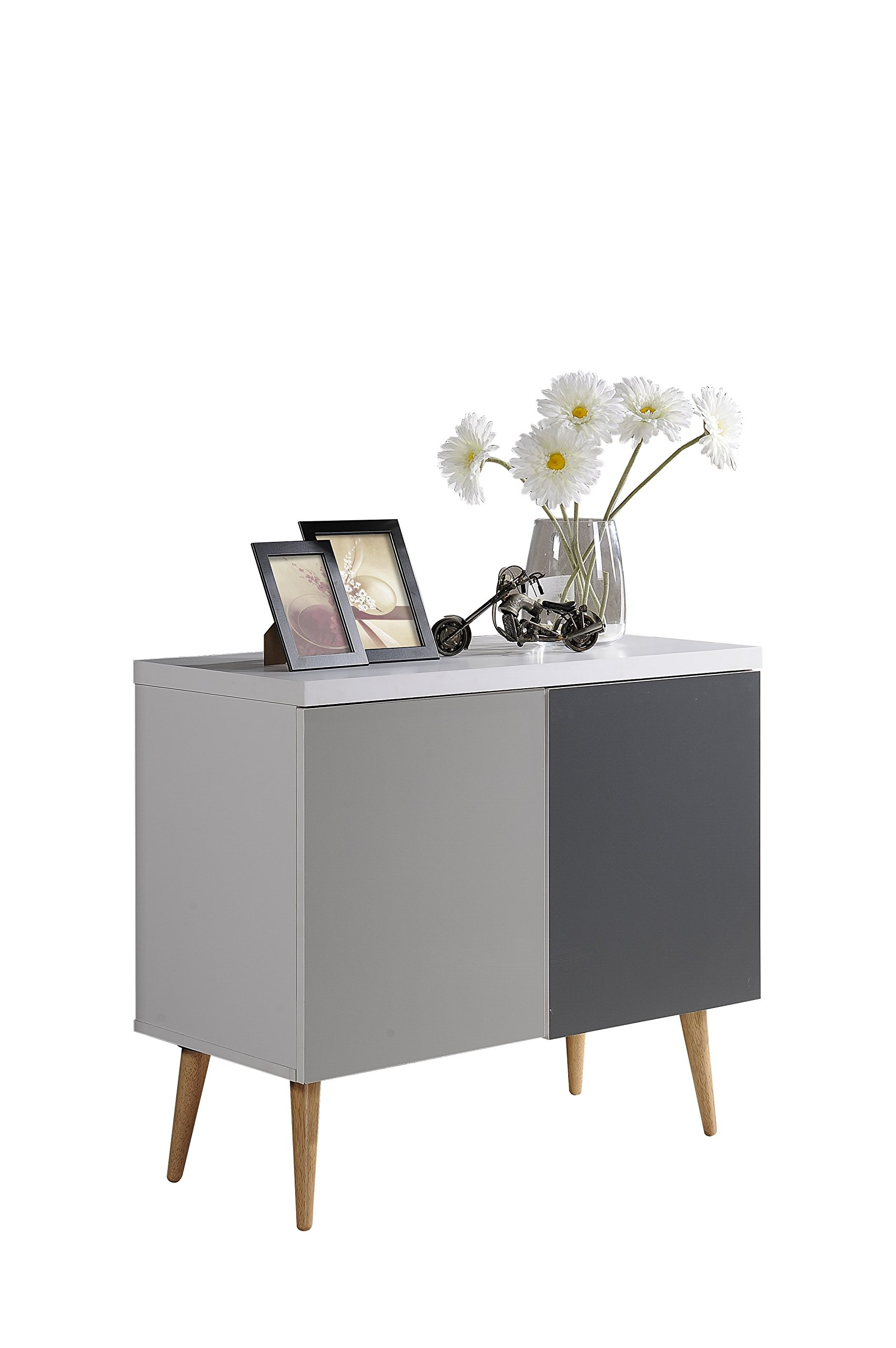Hodedah HI690 Credenza Entry Way Accent Table, White-Grey