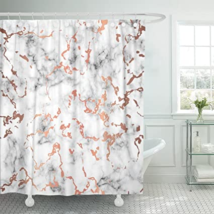 Image Unavailable Not Available For Color TOMPOP Shower Curtain Marble Copper Splatter Spots Black
