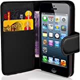 Apple iPhone 4 4S Premium Black PU Leather Flip Wallet Case Cover Pouch Includes Screen Protector and Polishing Cloth