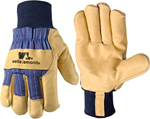 Men's Heavy Duty Leather Winter Work Gloves with Thinsulate Insulation (Wells Lamont 5127M), Medium