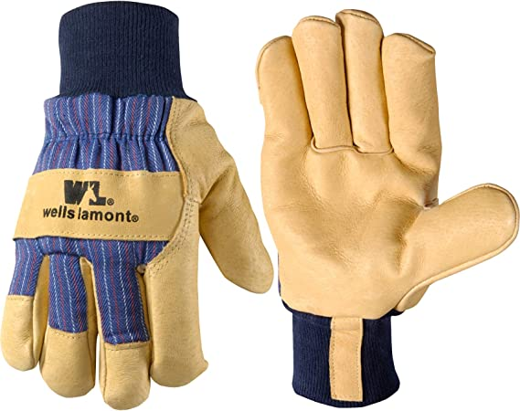 Wells Lamont Men/'s Suede Cowhide Leather Work Gloves 2 Pairs One Size Fits Most