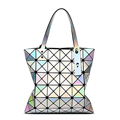 Famous Brands Women Laser Bright BaoBao Tote Lady Geometry Diamond Lattice  Sequins Fold Over Pearl Bao 30a0095280234