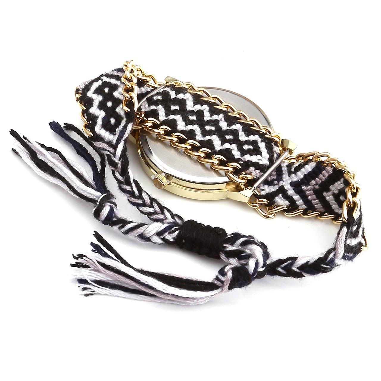 JSDDE 1PC Jolie Engagements Motif Tissé Bracelet Bande de Corde Quartz Cadran Montre Blanc + Noir