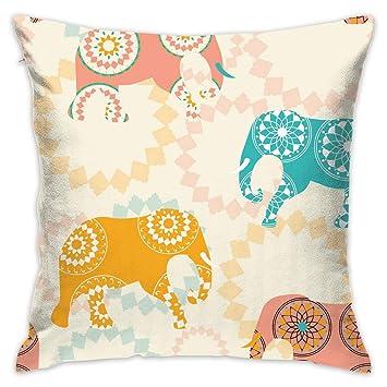 Amazon.com: Funda de almohada decorativa de elefantes indios ...