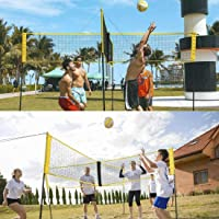 Volleyball Net Four Square Portable Cross Volleyball Net Garden Beaches Pools Backyard Tennis Net for Outdoor Training Practice Competition Volleyball Net Crossnet Game Four Square Volleyball Net