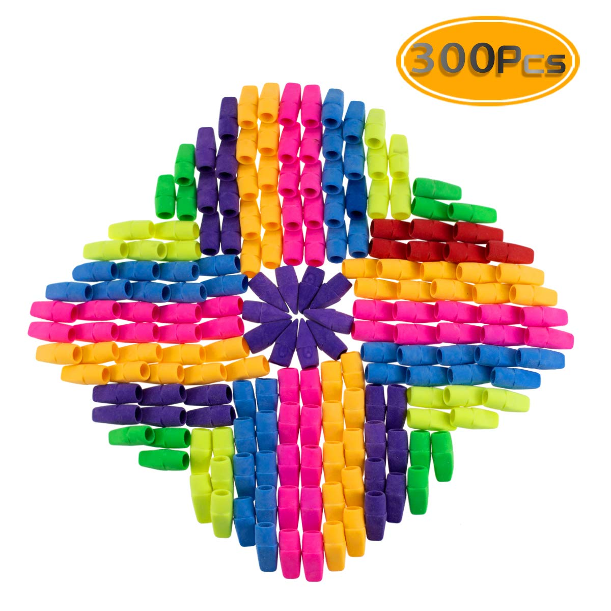 PRALB 300PCS Chisel Shape Pencil Eraser Caps, Pencil Erasers Assorted Colors For Party Favors Games Prizes Pen Cap Toppers Pencil Top Erasers Cap Erasers Eraser Tops Pencil Eraser Toppers School Erase