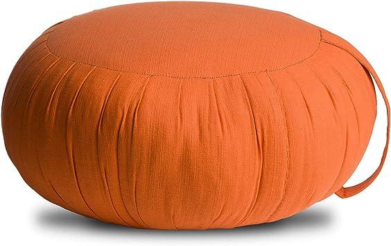 Avran Kapok Floor Zafu Pillow for Meditation and Yoga, 15 Inch Orange Modern