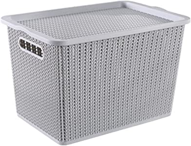 Houze Braided Storage Basket with Lid, Grey, Large