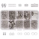 PandaHall Elite About 440 Pcs Jewelry Finding Kits with Ribbon Clamp End, Jump Ring, Fold Over Cord Ends, Lobster Claw Clasps, Extender Chain, Drop Ends for Jewelry Making Platinum
