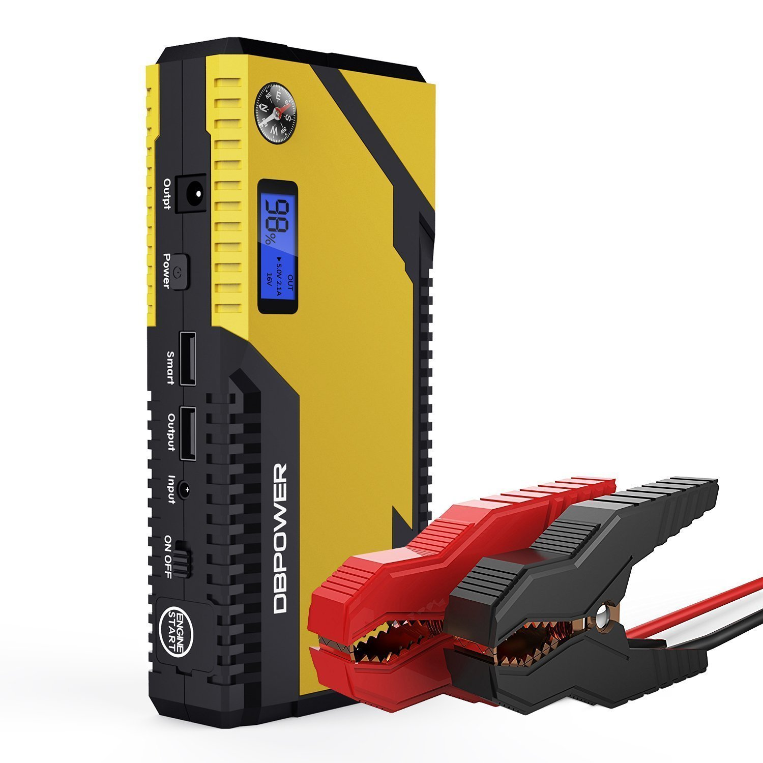 Dbpower 500a 12000mah Portable Car Jump Starter Emergency Battery Short Circuit Protection 12v 24v Truck Booster Pack With Dual Usb Charging Outputs Led Flashlight And Compass